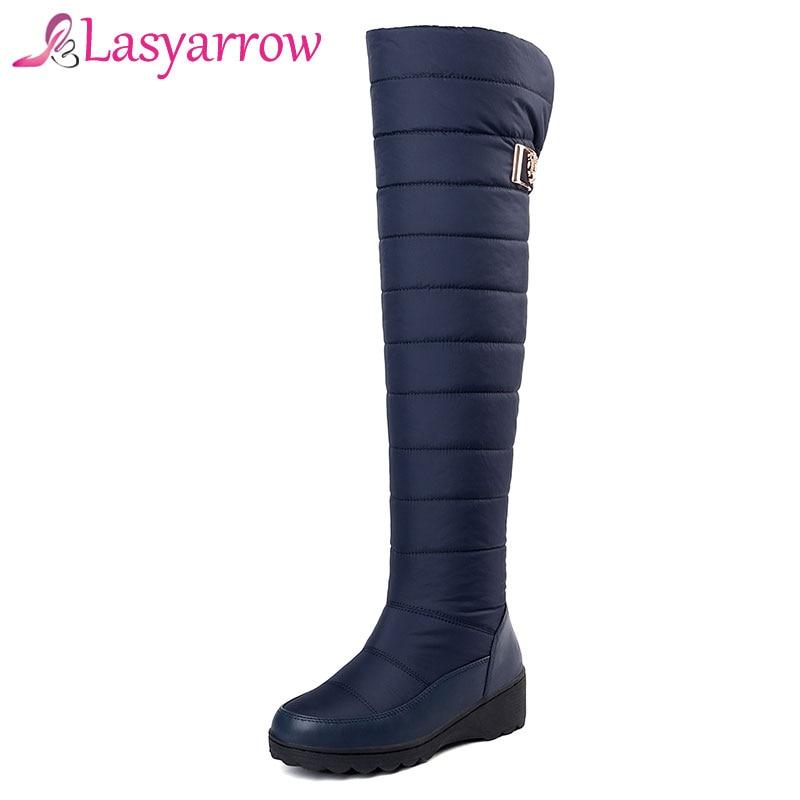 Rodilla Mujer Bota La Lasyarrow Punta Muslo Caliente Negro Mujeres Impermeable Nieve azul Piel Moda Invierno De Redonda Zapatos Botas qqFatZH7