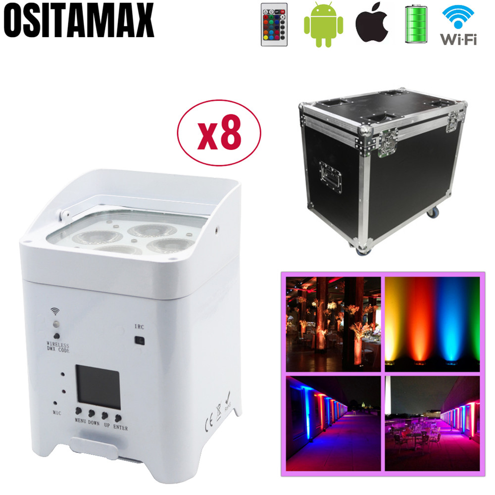 8pcs+ Flight Case Wireless Smart WIFI Par Light 4X18W Wedding Uplight RGBWA UV 6IN1 Battery Power Lumiere For Stage Disco Party