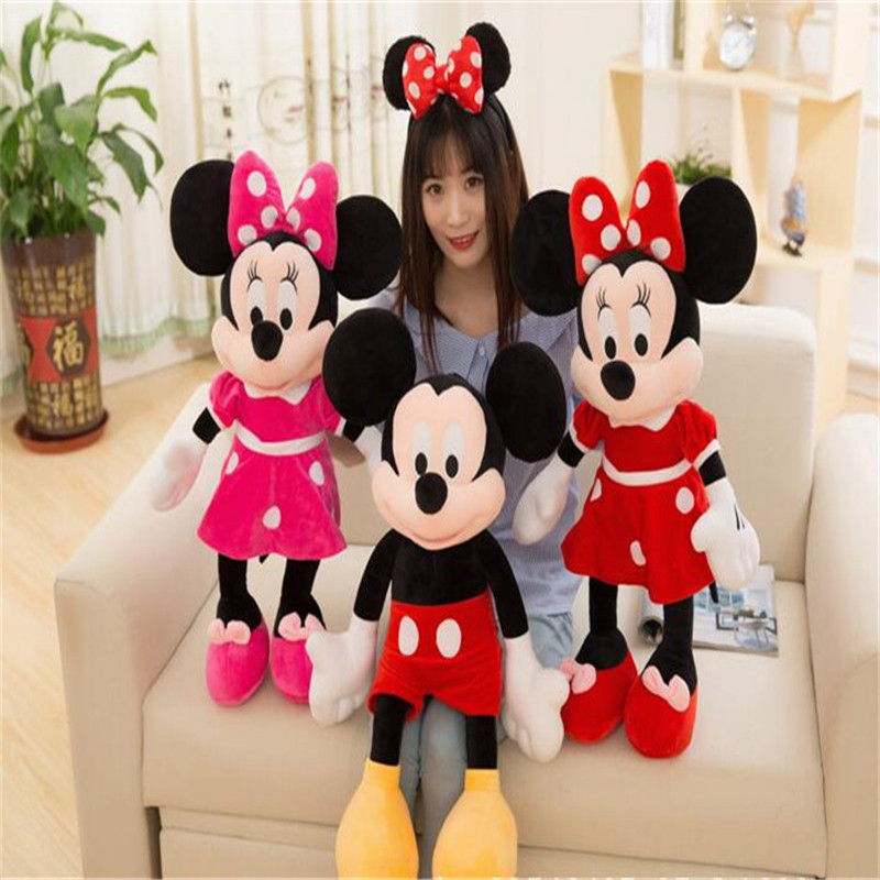 40cm-100cm High Quality Cartoon Plush Mickey Minnie Mouse Stuffed Animal Soft Doll Toys Kids Girls Gifts Birthday Christmas Gift