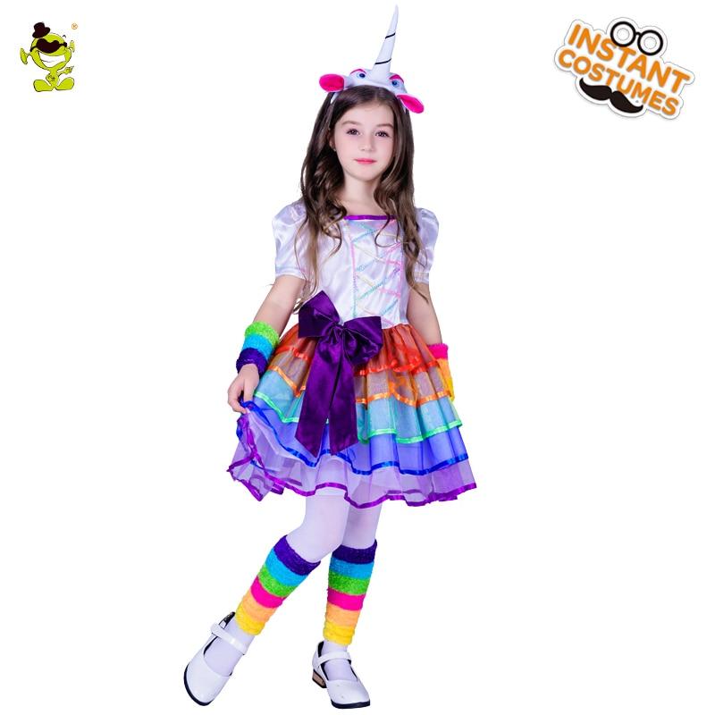 New Girls Unicorn Dress Short Sleeve Children Princess Summer Dress Children Clothing Winter Cute Fashion Party Costume