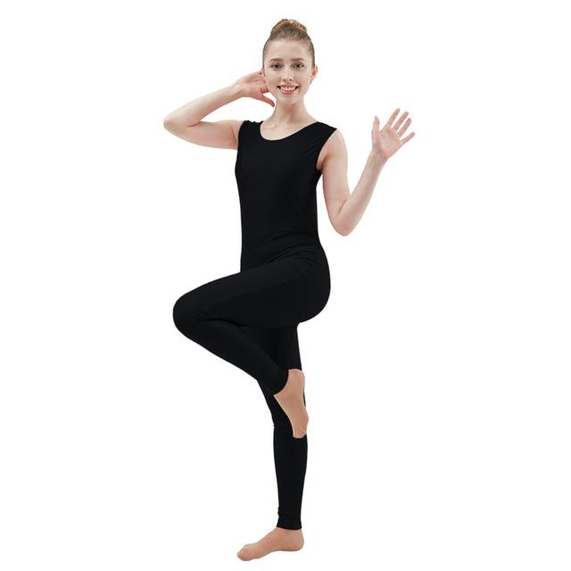 5afd3f59e Ensnovo Womens Lycra Spandex Sleeveless Bodysuits Black Dancewear ...