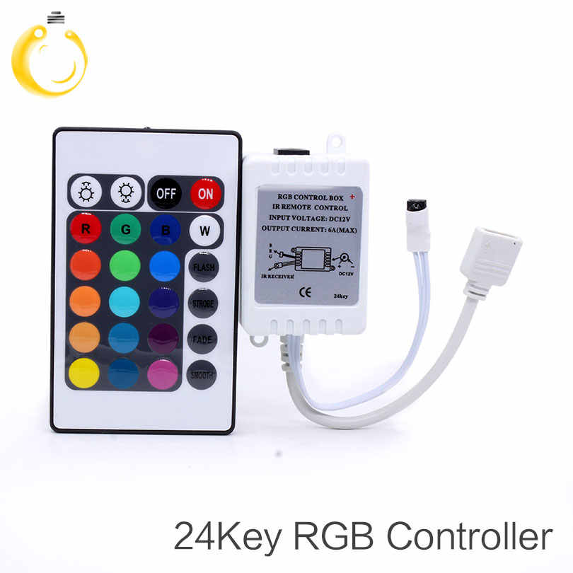 24 klucze kontroler LED RGB DC12V pilot zdalnego sterowania na podczerwień dla SMD 3528 5050 RGB LED pasek światła