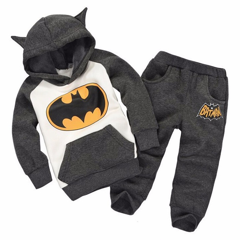 2015 New autumn winter baby boy sport set batman clothes Tracksuit kids baby suit boys and girls hoodie coat+trousers m12588