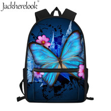Jackherelook 3D Floral Butterfly Animal Print School bags Teenager Girls Women Backpacks Large Orthopedic Mochila Escolar