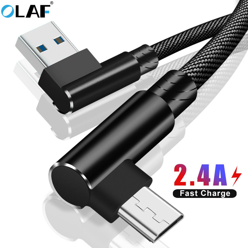 Micro USB Cable 90 Degree Elbow Nylon Braided 1m 2m 3m Fast Charging Charger Data Cable For Samsung S7 Xiaomi Redmi LG Microusb
