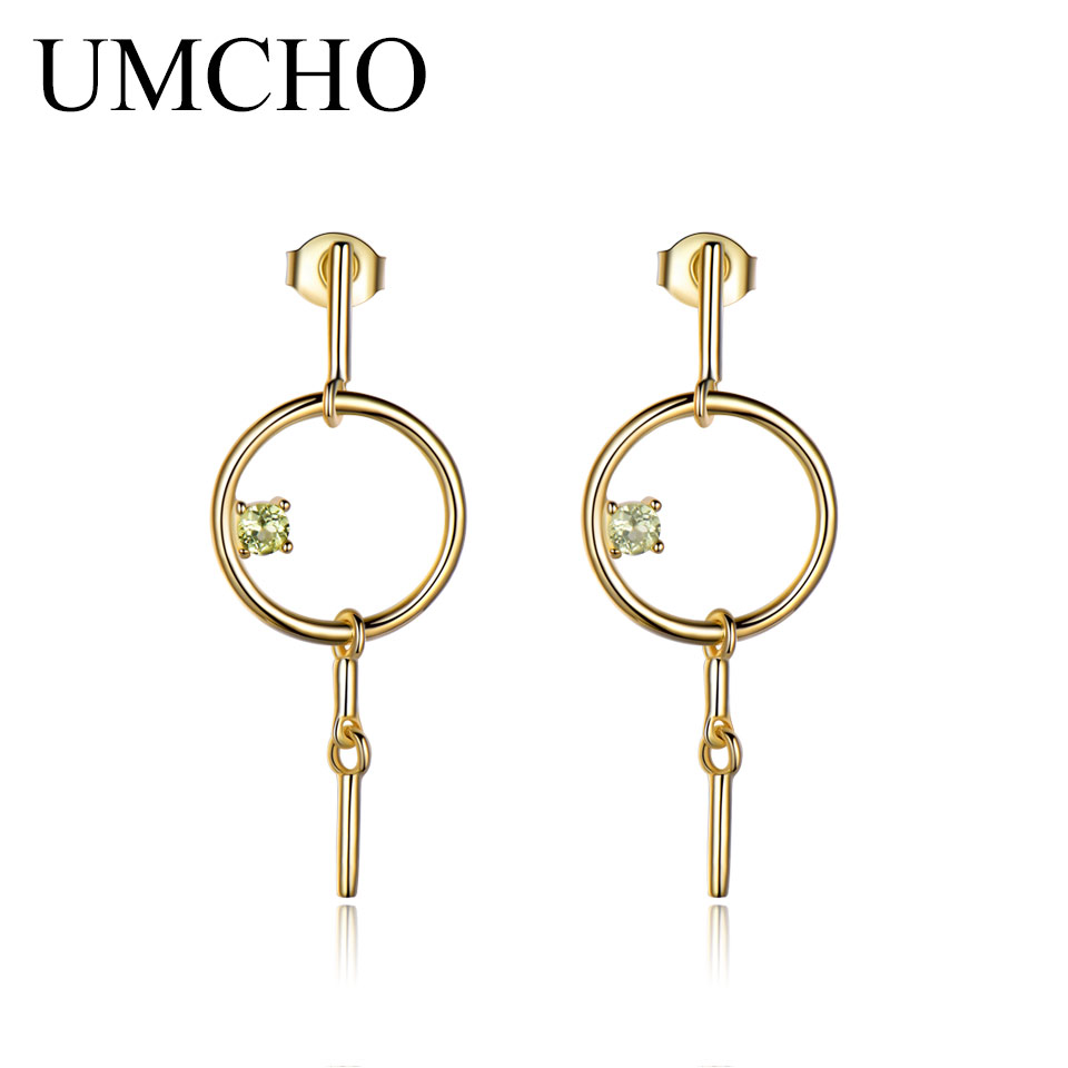 UMCHO Natural Peridot Dangles Drop Earrings For Women Gemstone Solid 925 Sterling Silver Brand Fine Jewelry Gift For Her New
