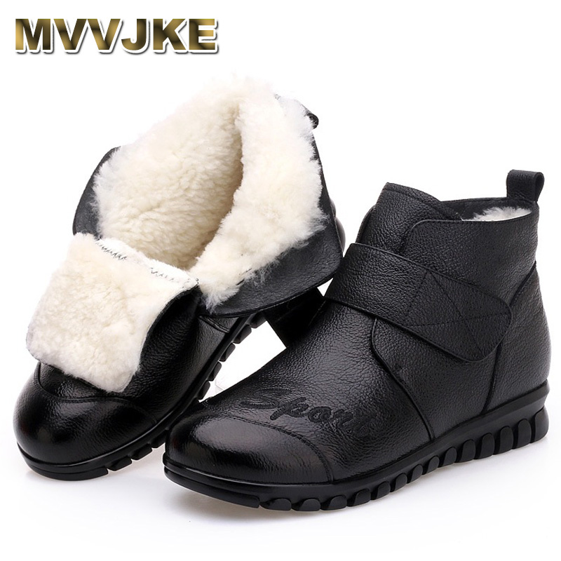 MVVJKE 2018 Women Snow Boots 100 Genuine Leather Natural Wool Fur Winter Warm Ankle Boots Women