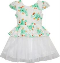 Sunny Fashion платья для девочек жаккард Цветок Детализация С Тюль Наложение