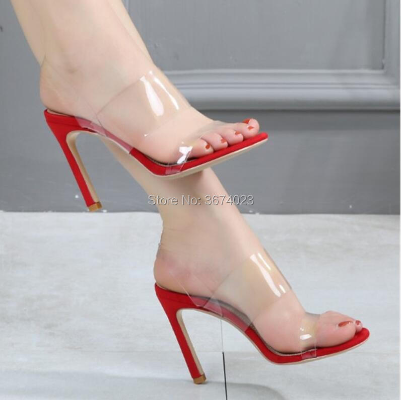 Qianruiti Peep 5 Sandalia Crystal De Stilettos Mujeres Lucite Tacón Altos Toe 10 Sandalias Señora Beige Sexy Roma Cm Tacones vino negro Verano Tinto Pvc Mujer Zapatos Alto rojo rTBz7r