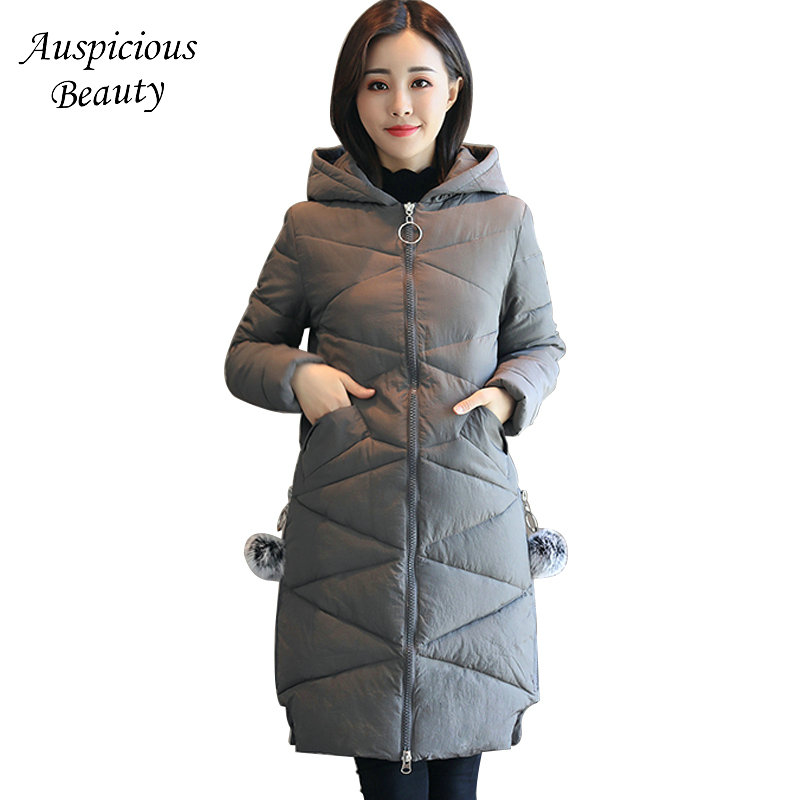 2017 New Winter Women Warm Hooded Thicken Slim Wadded Jacket Woman Parkas Female Ladies Wadded Overcoat Long Cotton Coat CXM31 new 2017 winter hooded jacket women cotton wadded overcoat medium long slim casual fashion parkas female denim blue coats cm1509