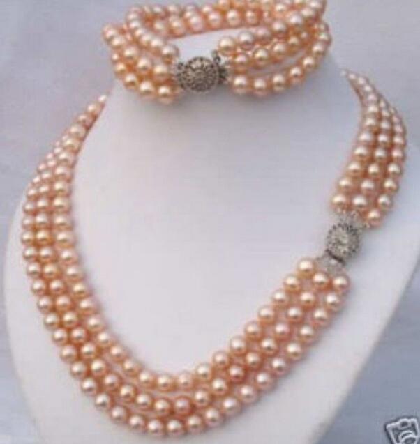 Charmant collier de perles roses élégant 3 rangées 7-8mm