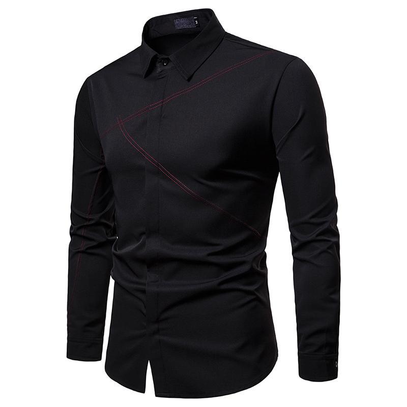 Wedding Dress Men Shirts Long sleeve Blouse Men 39 s Clothing Slim fit Casual Shirt Men Blouse Fashion in Casual Shirts from Men 39 s Clothing