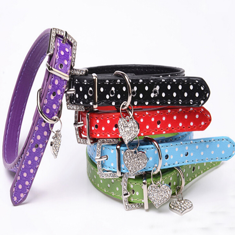 Sweet Polka Dot Heart Charm Leather Pet Dog Collar Puppy Cat Pet Spiked Neck Strap Necklace with Rhinestone Buckle XS S M L