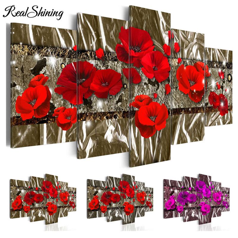 5 Pcs/set Dark Red and Purple Poppies Blossom Flowers diamond painting cross stitch,5d Diy Full square Mosaic embroidery FS3612