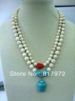 Người phụ nữ 2 rows necklace tròn màu trắng bead red phật head đá hỗn hợp buddha xanh đầu mặt dây chuyền vòng c