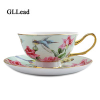 GLLead European High Quality Boen China Coffee Cup Saucer Set 200ml Luxury Ceramic Cups Porcelain Home Office Afternoon Teacup