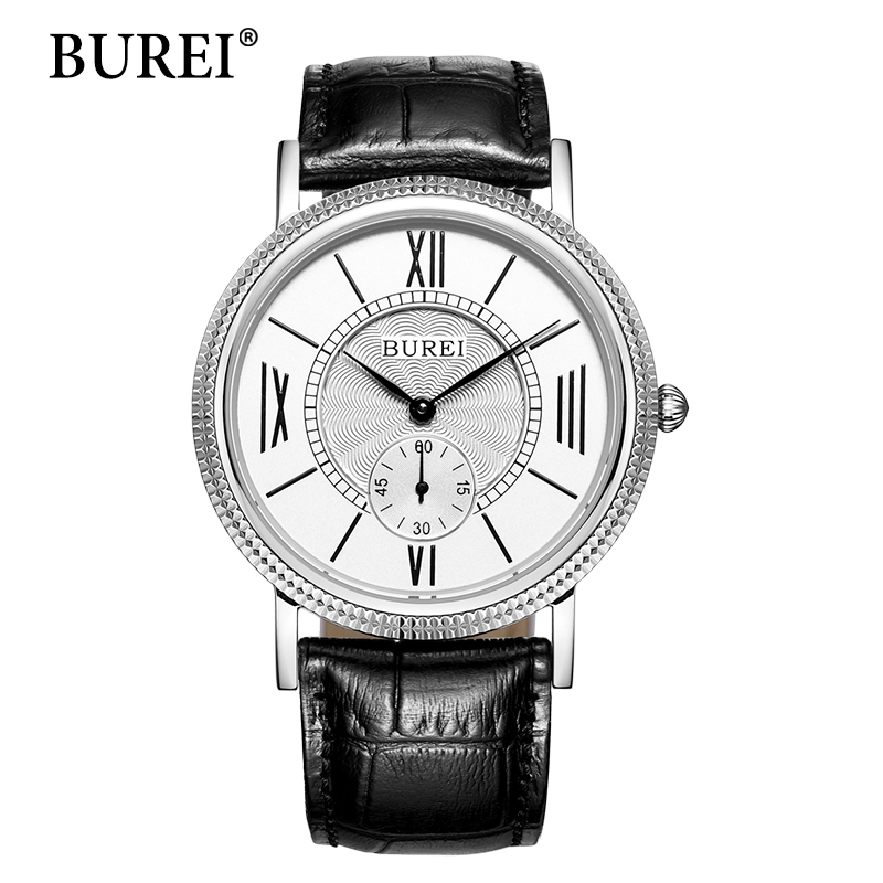 BUREI Retro Roman Numerals Dial Lovers Quartz Watch Women Men Ultra-Thin Leather Strap Round Dial Diamond Crown Waterproof Clock roman numerals dial artificial leather watch