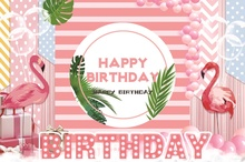 Laeacco Flamingo Baby Birthday Party Balloons Stripe Poster Portrait Photo Backgrounds Photography Backdrops For Photo Studio