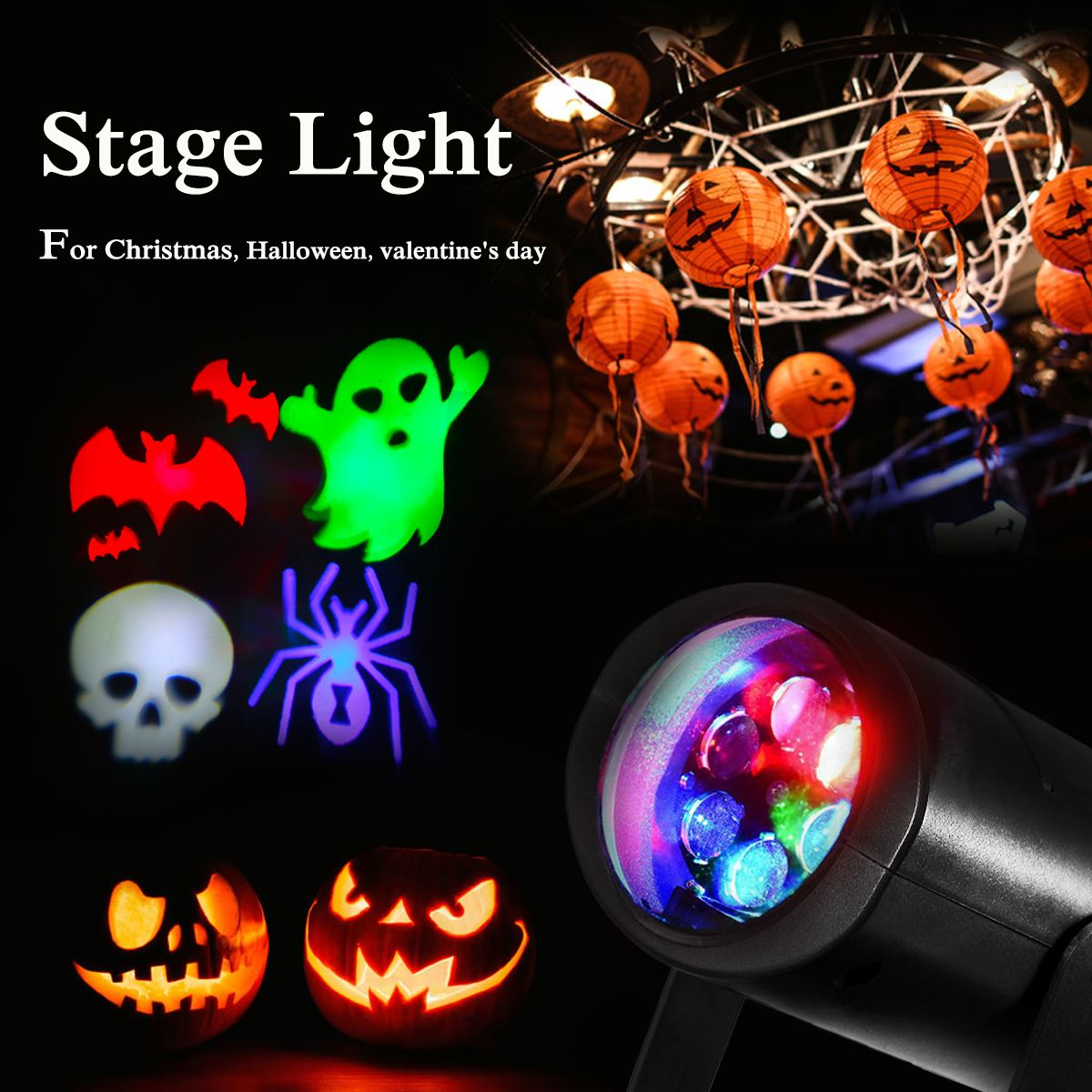 LED Laser Projector Lamps Stage Light Heart Snow Spider Bowknot Pattern Halloween Christmas Party Lamp Garden Indoor Lighting