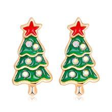 716d4427b 2018 New Fashion Green White Enamel Crystal Christmas Tree Earrings Red  Star Stud Earring Jewelry Ornaments Gift for Women JL