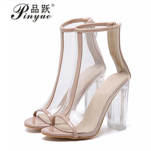 Women Clear Heel Transparent Boots Peep Toe Ankle Boots Bootie Perspex Lucite Summer Shoes Sandals Block Heel Pumps timesize women clear heel transparent boots peep toe ankle boots bootie perspex lucite summer shoes sandals block heel pumps