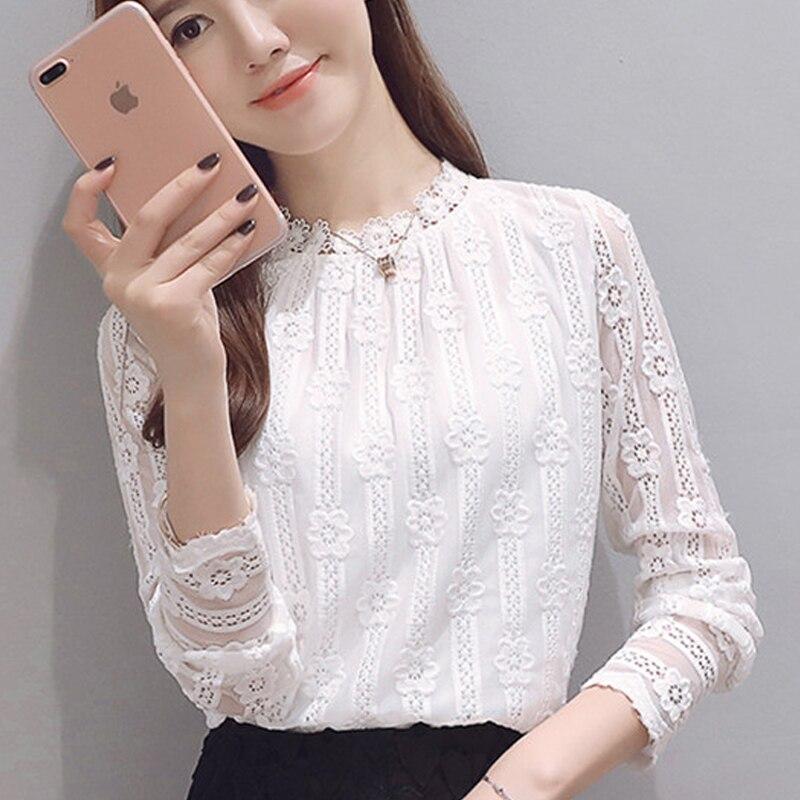 87083fb59209 € 8.93 27% de DESCUENTO|Ropa de mujer nueva moda 2019 más camisetas de  talla grande de manga larga blusa de encaje blanco camisa de ganchillo ...