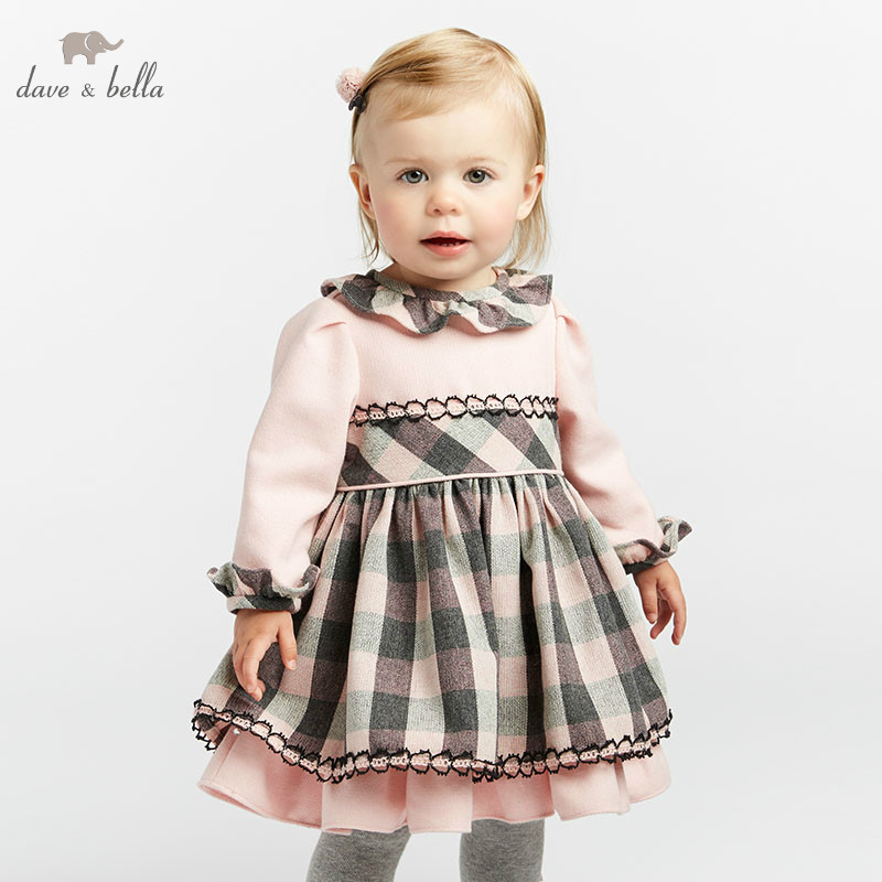 все цены на DB8468 dave bella autumn/winter Princess baby dresses girls Lolita dress children long sleeve high quality dress plaid dress