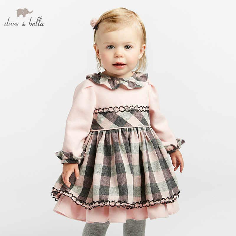 DB8468 dave bella/осенне-зимние платья принцессы для малышей платье лолиты для девочек детское платье высокого качества с длинными рукавами платье в клетку
