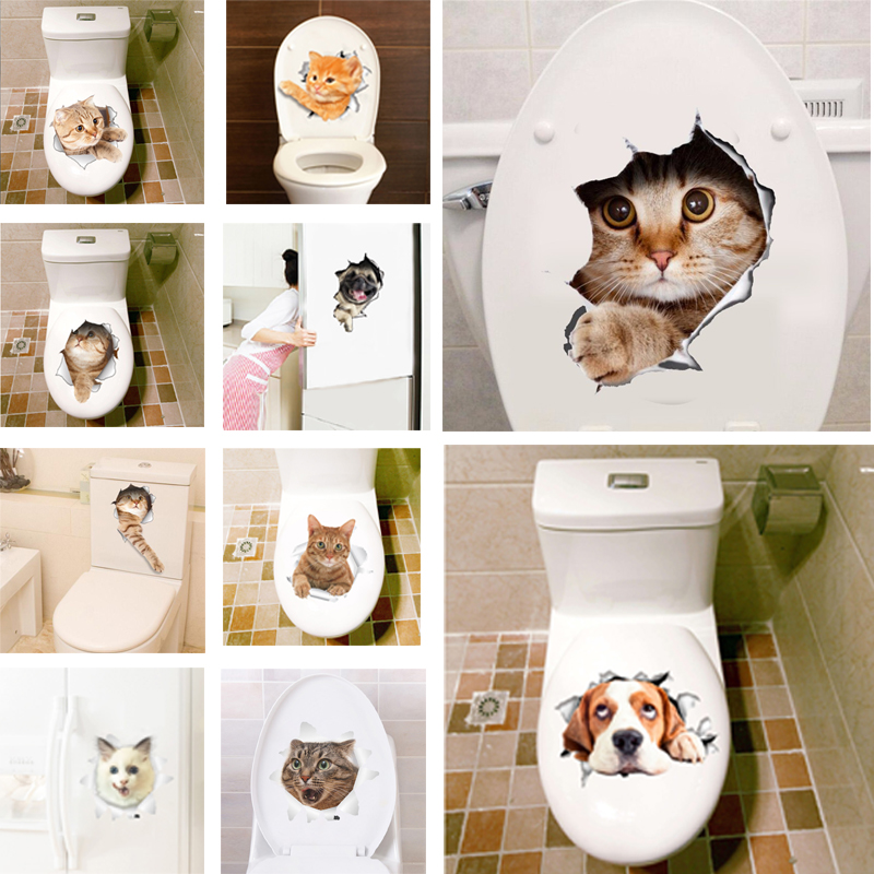 3D Hole View Vivid Cats Wall Sticker Bathroom Toilet Living Room refrigerat..