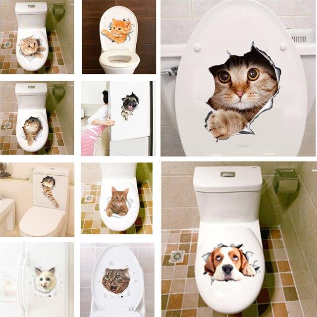 Buraco 3D Vista Vivid Gatos Adesivos de Parede Banheiro Banheiro Sala de estar Decoração do refrigerador Animais Decalques Arte Adesivos de Parede Parede Poster