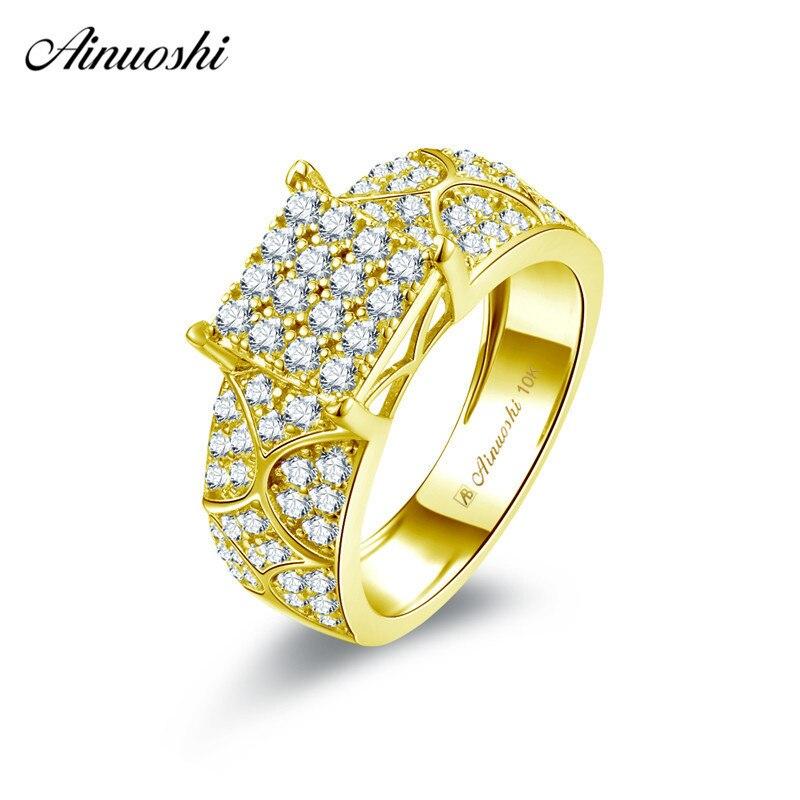 AINUOSHI 10 k массивная, желтая, Золотая квадратная Кольцо женское свадебное обручальное ювелирное свадебное кольцо Bague Anillo Shining SONA алмазный обру