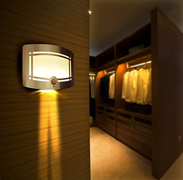 LED Wall Lamp Wireless Stick Anywhere Battery Powered Motion Sensor Wall  Light Sconces Home Decoration Lamp