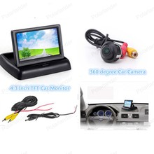 Wholesale 360 degree Car Rear View Camera Reverse Backup+4.3 inch tft lcd Rearview Monitor  ,Free Shipping