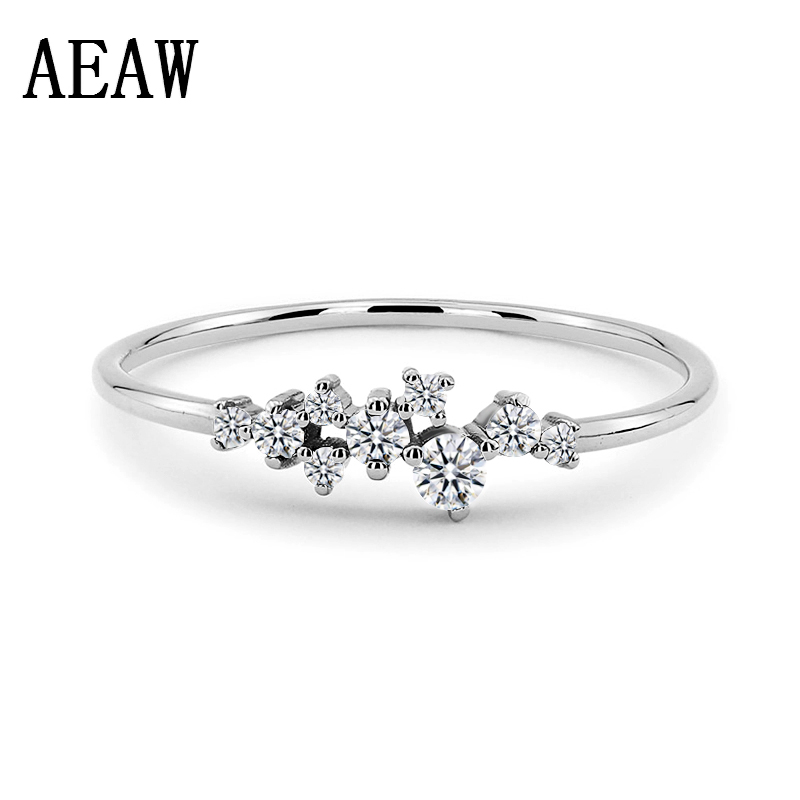 Trendy Silver  Color Classical Twist Rope Moissanite Finger Ring For Women Fashion Wedding Gift Rings