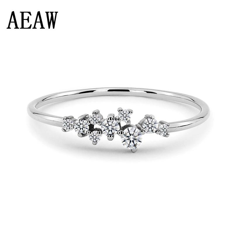 Anel de Dedo para as Mulheres Moda Prata Clássica Torção Corda Moissanite Casamento Presente Anéis Cor