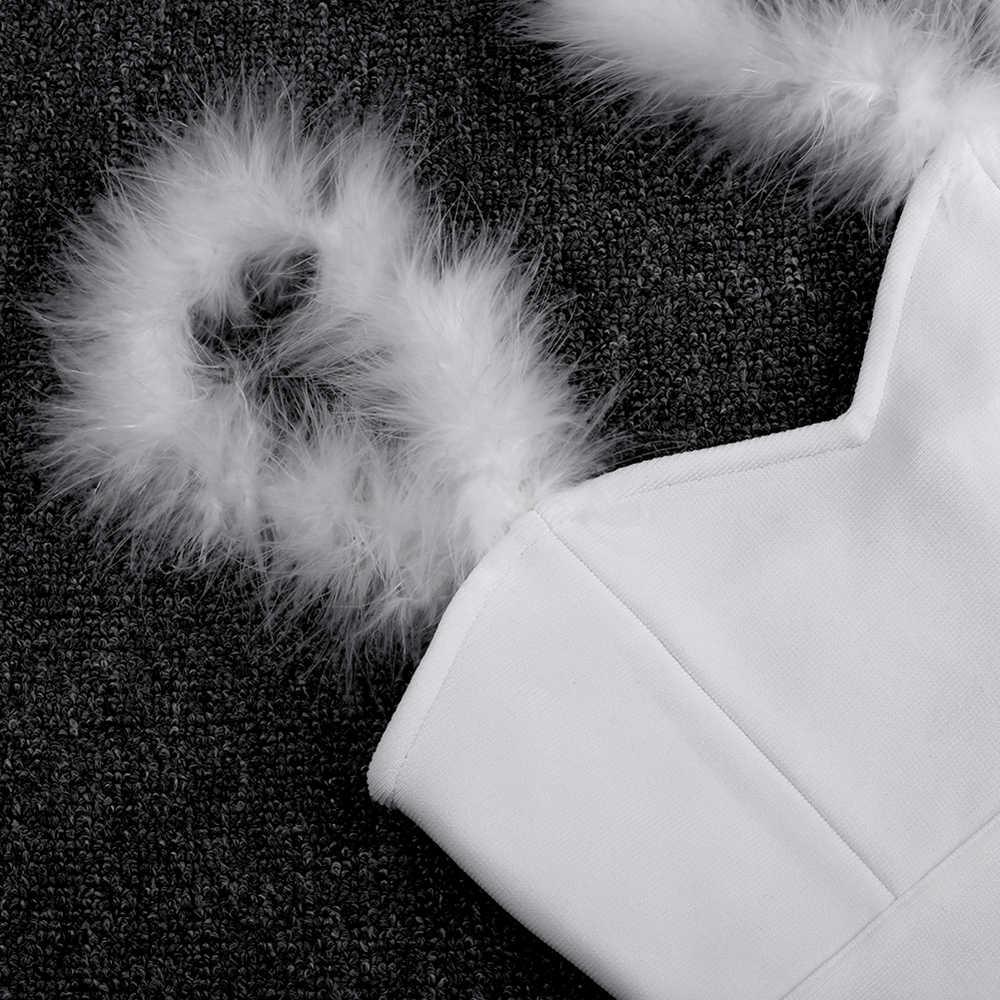 Ocstrade pansement Vestido haute couture femmes 2019 nouveauté plume élégante robe de pansement blanc moulante fête robe de boîte de nuit