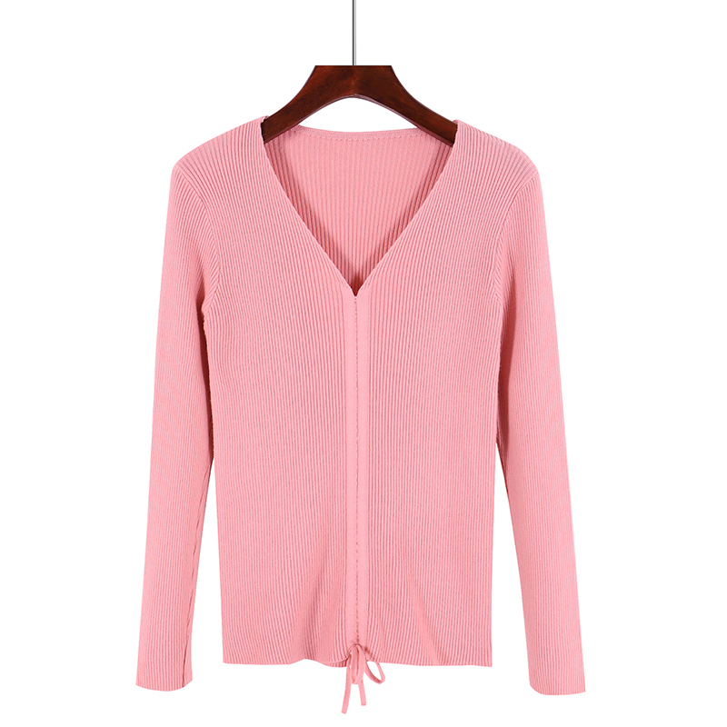GOPLUS Autumn Winter Lace up Knitting Sweaters Women Sexy V Neck Slim Long Sleeve Elasticity Jumper Solid Pullovers Female Top 18