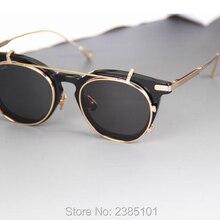 Винтажные круглые стильные поляризованные солнцезащитные очки с клипсами, Мужские Съемные брендовые дизайнерские очки по рецепту