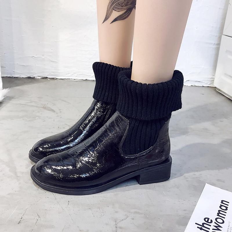 Zapatos Botas Beige 2018 Negro Casuales Para Otoño Mujeres Moda Beige Botines Deslizamiento Tacón De En Bajo Las Invierno Talón negro FPgUdqw