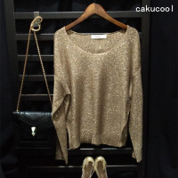 New Women Sequined Jumpers Long Sleeve Big O Neck Knit Pullovers Gold Silver Lurex Shinning Casual