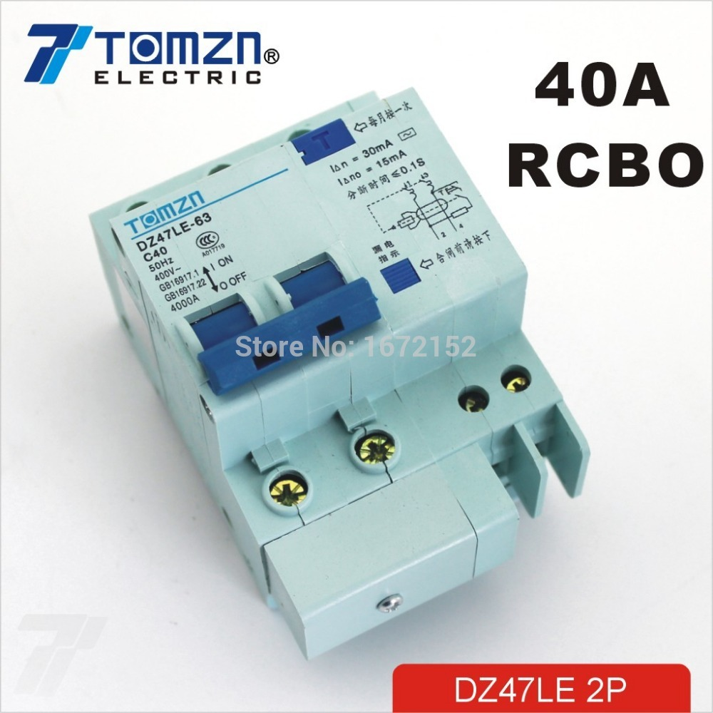 DZ47LE 2P 40A 230V~ 50HZ/60HZ Residual current Circuit breaker with over current and Leakage protection RCBODZ47LE 2P 40A 230V~ 50HZ/60HZ Residual current Circuit breaker with over current and Leakage protection RCBO
