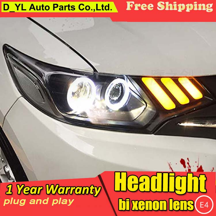 Car Styling For honda Fit led headlights For honda Fit head lamp Angel eye led DRL