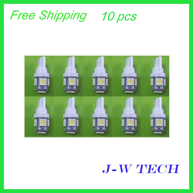 Wholesale Freeshipping Xenon White 12v T10 5 SMD 5050 LED LIGHT 168 194 W5W Wedge Automobile Bulbs Lamp Wedge Interior Light
