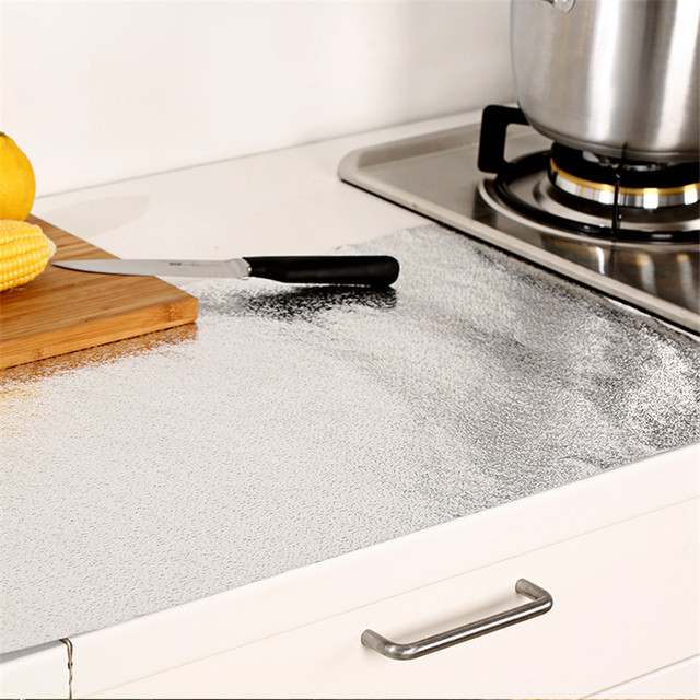 Bon Thickened Carbinet Stove Sticker Waterproof Cabinet Aluminum Foil Kitchen  Drawer Mat Oil Resistant Self Adhesive Foil