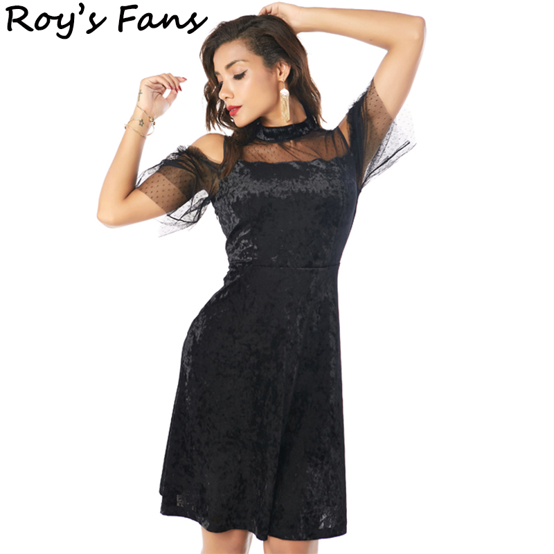 Roys Fans Fashion Vintage Bodycon Women Sexy Club Evening Party Dress Patchwork Organza Cold Shoulder Elegant Short Dress