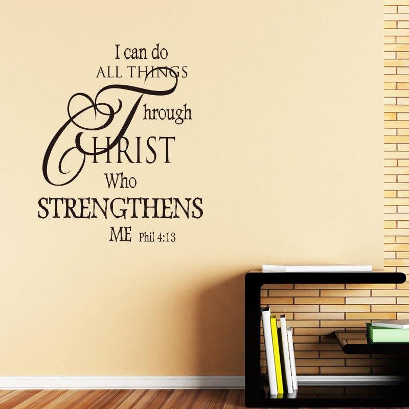 Removable Quote Wall Decal Bible Verse Wall Sticker Home ...