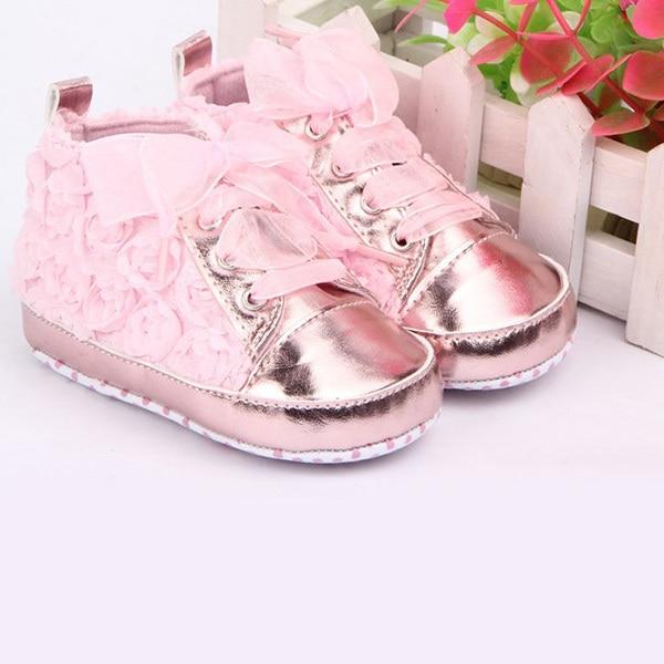הראשון ווקר תינוק נעלי רוז פרח תחרה תינוק ילדי נעלי רך תחתון Prewalker פעוט נעליים