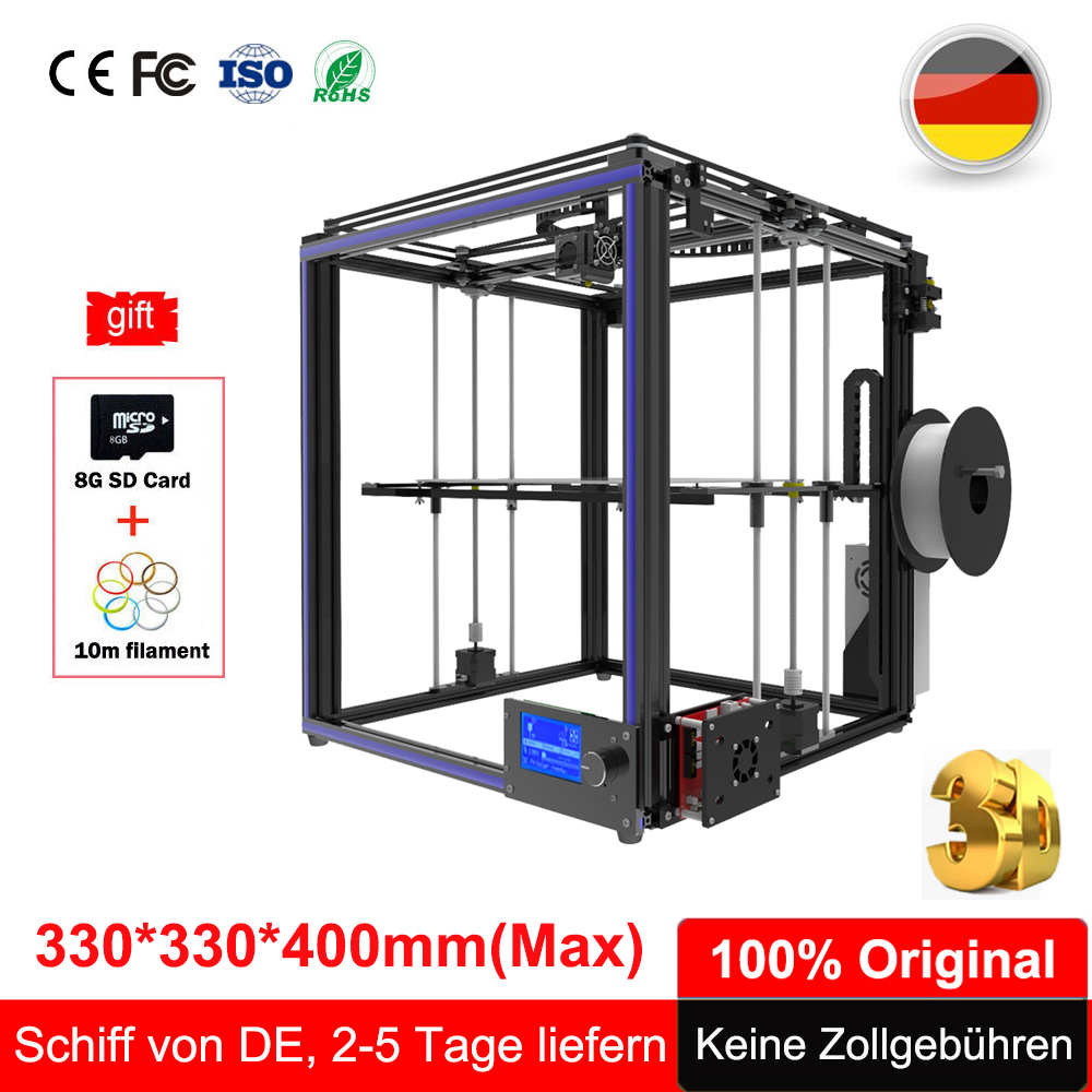 2018 Tronxy X5s 3D Printer Kit Plus Size 3D Printing 300*300*400 I3 Aluminium Metal Extruder LCD Large Diy 3D Printer Tronxy X5s new design diy tronxy x3l 3d printer bowden extruder diy kit 3d printer self assembly