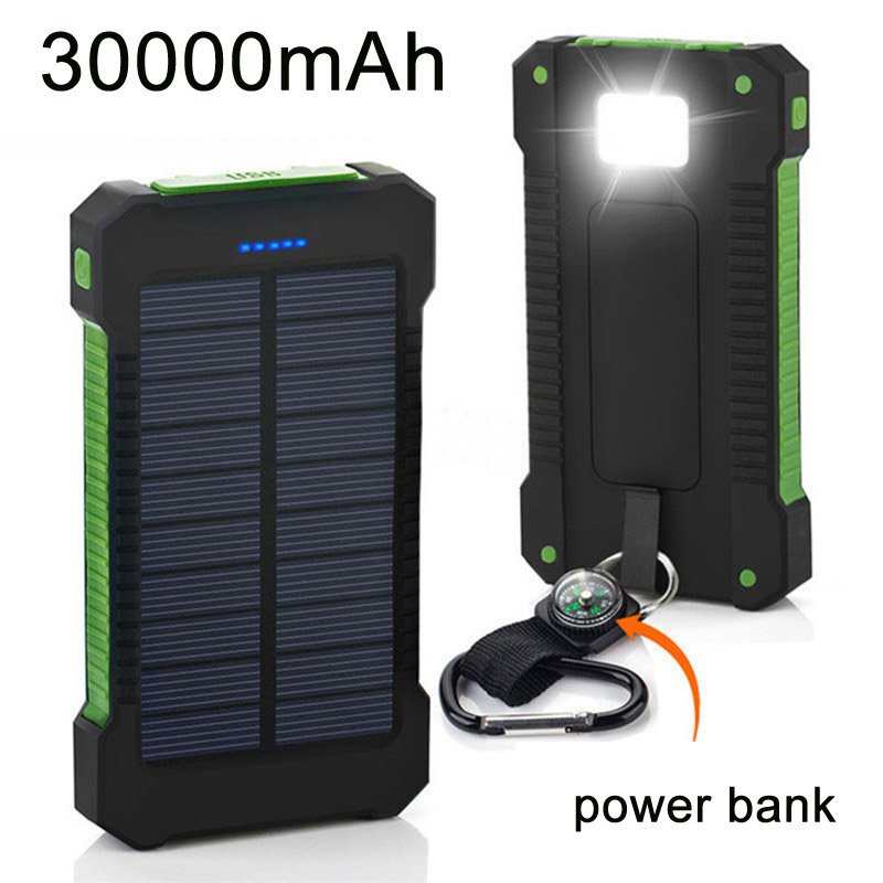 Scorching Prime Photo voltaic Energy Financial institution Waterproof 30000Mah Photo voltaic Charger 2 Usb Ports Exterior Charger Powerbank For Xiaomi Note8 For I7 18650
