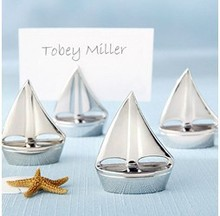 Wedding favor - 50pcs/lot sailing shape WEDDING place card/photo holder with clear card